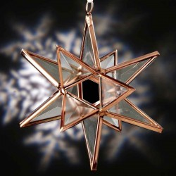 Clear Beveled Glass Ornament with Copper Finish